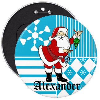 Papá Noel personalizó los botones conocidos de la  Pins