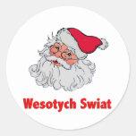 Papá Noel polaco #2 Pegatina Redonda