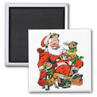 Papá Noel - preparación del duende Imán Cuadrado