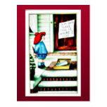 Papá Noel presenta los regalos a un chica Postales