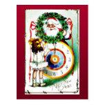 Papá Noel presenta los regalos a un chica Tarjetas Postales