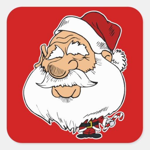Papá Noel principal grande Calcomanía Cuadradas Personalizada