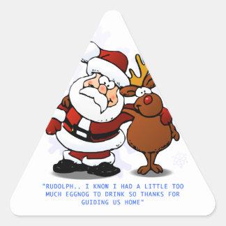 Papá Noel que abraza y que agradece Pegatina Triangular