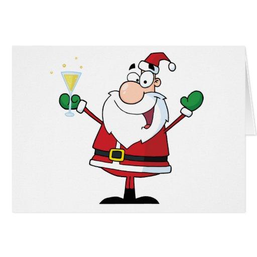Papá Noel que bebe Champán Felicitacion