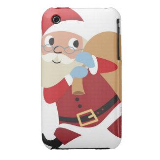 Papá Noel que camina con el saco arrojado sobre el iPhone 3 Carcasas