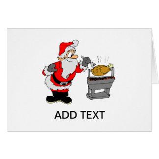 Papá Noel que cocina la tarjeta de Navidad del Bbq