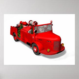 Papá Noel que conduce un coche de bomberos Póster