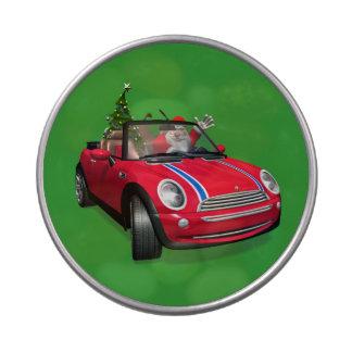 Papá Noel que conduce un mini Frascos De Caramelos