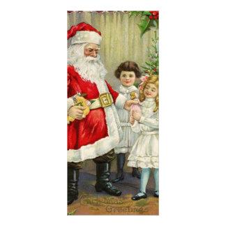 Papá Noel que da los regalos al illus del vintage Tarjetas Publicitarias A Todo Color