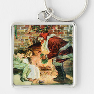 Papá Noel que entrega presentes Llavero Cuadrado Plateado