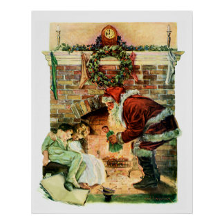 Papá Noel que entrega presentes Poster