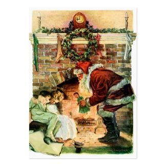 Papá Noel que entrega presentes Tarjetas De Visita Grandes