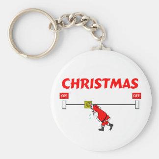Papá Noel que gira navidad Llavero Redondo Tipo Pin