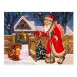 Papá Noel que hace entregas Tarjetas Postales