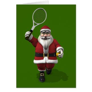 Papá Noel que juega a tenis Tarjeta De Felicitación