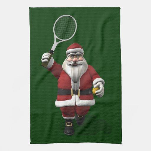 Papá Noel que juega a tenis Toalla De Mano