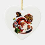 Papá Noel que juega con los trenes Ornamento Para Reyes Magos