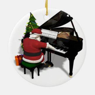 Papá Noel que juega el piano Adorno Navideño Redondo De Cerámica