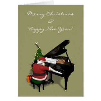 Papá Noel que juega el piano Tarjeta De Felicitación