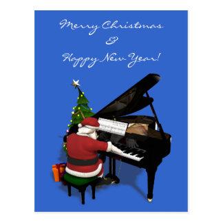 Papá Noel que juega el piano Tarjetas Postales