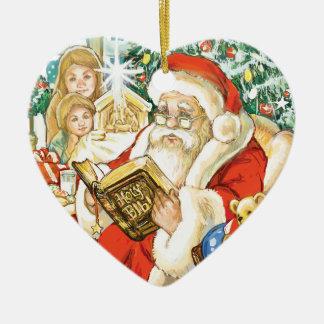 Papá Noel que lee la biblia el Nochebuena Adorno Navideño De Cerámica En Forma De Corazón