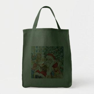 Papá Noel que lee la biblia el Nochebuena Bolsas