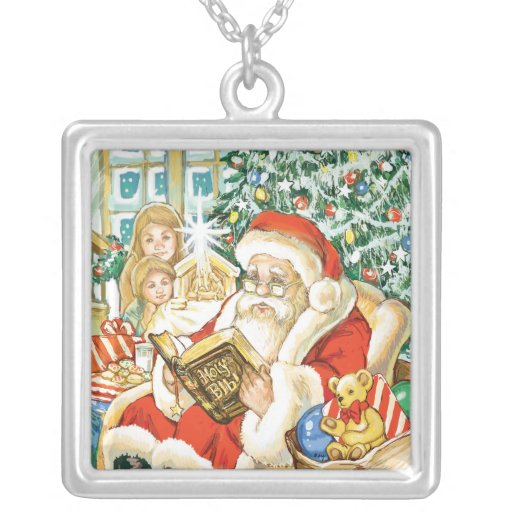 Papá Noel que lee la biblia el Nochebuena Colgante Personalizado