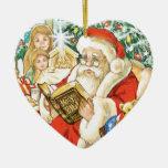 Papá Noel que lee la biblia el Nochebuena Adorno De Cerámica En Forma De Corazón