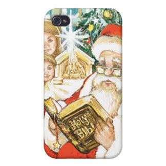 Papá Noel que lee la biblia el Nochebuena iPhone 4/4S Carcasas