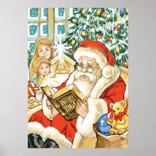 Papá Noel que lee la biblia el Nochebuena Póster