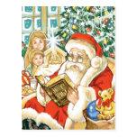 Papá Noel que lee la biblia el Nochebuena Tarjetas Postales