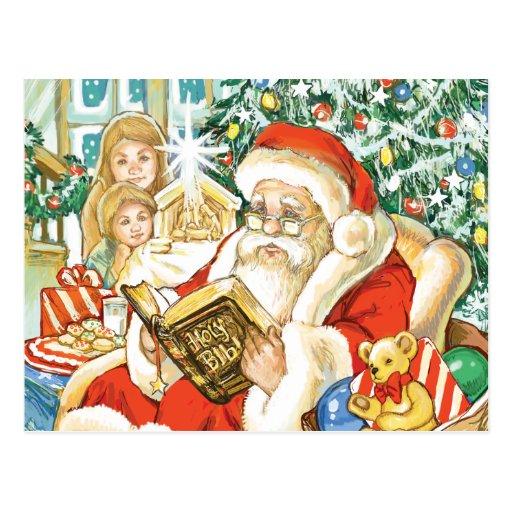 Papá Noel que lee la biblia el Nochebuena Tarjeta Postal