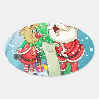 Papá Noel que lleva a cabo una lista dentro de los Pegatina Ovalada