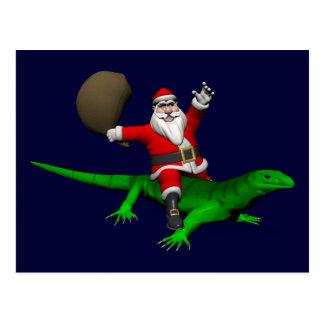 Papá Noel que monta el lagarto verde Postal