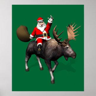 Papá Noel que monta un alce Póster