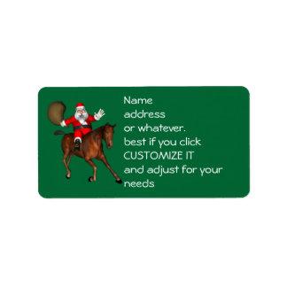 Papá Noel que monta un caballo de Brown Etiquetas De Dirección