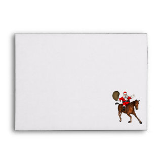 Papá Noel que monta un caballo de Brown Sobres