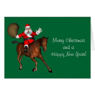 Papá Noel que monta un caballo de Brown Tarjeta De Felicitación
