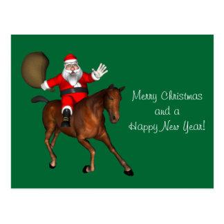 Papá Noel que monta un caballo de Brown Postal