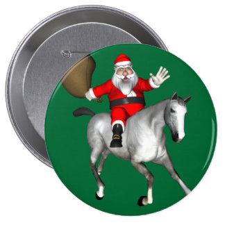 Papá Noel que monta un caballo gris Pin Redondo De 4 Pulgadas