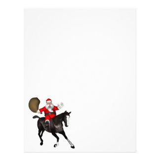 Papá Noel que monta un caballo negro Membrete Personalizado