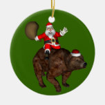 Papá Noel que monta un oso Ornamentos De Reyes