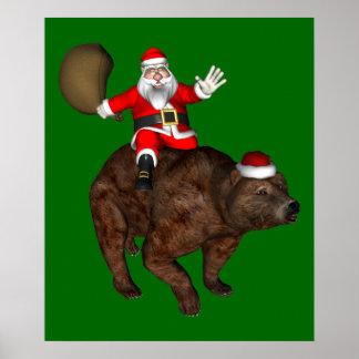 Papá Noel que monta un oso Póster