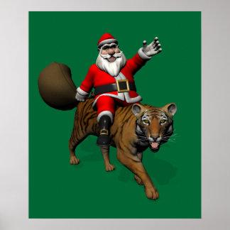 Papá Noel que monta un tigre Póster