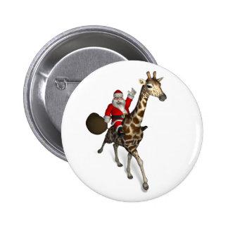 Papá Noel que monta una jirafa Pin Redondo De 2 Pulgadas