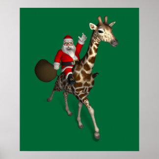 Papá Noel que monta una jirafa Póster