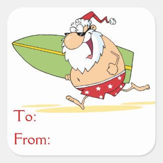 Papá Noel que practica surf Colcomanias Cuadradas