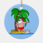 Papá Noel que practica surf Ornamento Para Arbol De Navidad