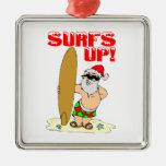 Papá Noel que practica surf Ornamentos De Reyes Magos