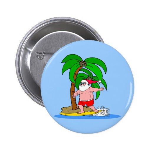 Papá Noel que practica surf Pin